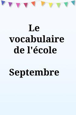 Le vocabulaire de septembre