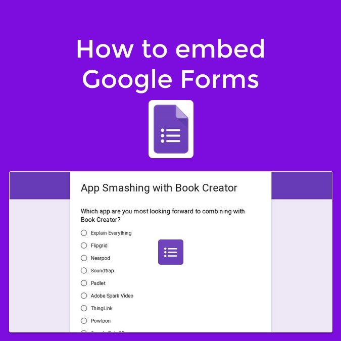How to embed Google Forms in Book Creator