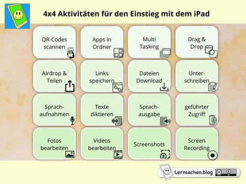 4x4 Aktivitäten für den Einstieg mit dem iPad